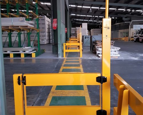 BV061 Verge VIVID gate. Verge swing gate with warning light and beeper to prevent warehouse accidents. forklift safety