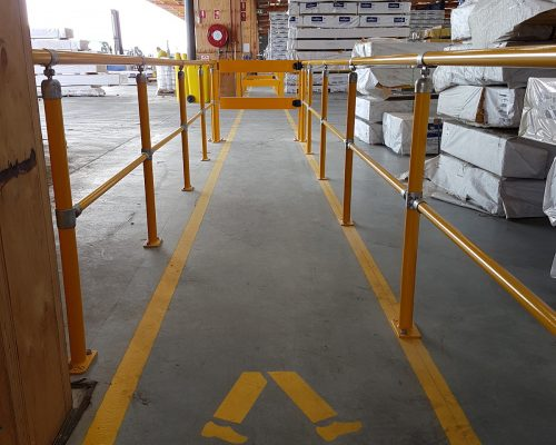 ECO handrail system. BV051 Verge swing gate. Walkway protection. forklift safety (4)