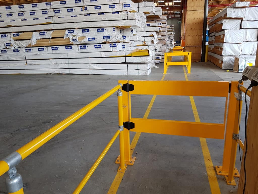 ECO handrail system. BV051 Verge swing gate. Walkway protection. forklift safety