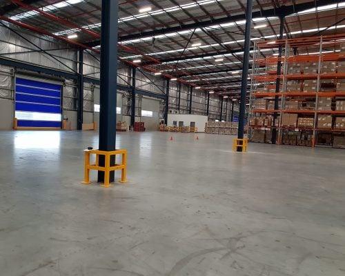 EV310 Verge safety barriers. Verge Column protection. asset and building protection. forklift safety MEDLINE warehouse. prevents damage