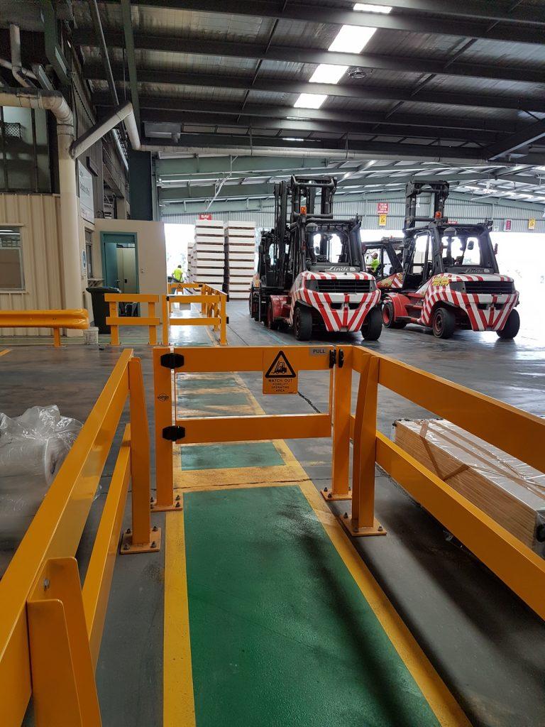 USG Boral - Verge Safety Barrier. Verge swing gate. FORKLIFT SAFETY