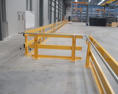 Verge barrier with floor angle to protect walkway from forklifts in Western Australia