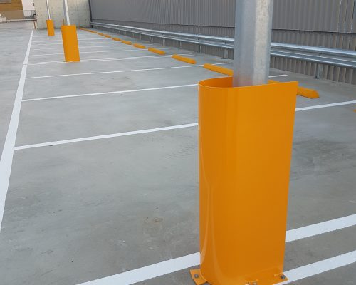 Verge light post guard. carpark safety