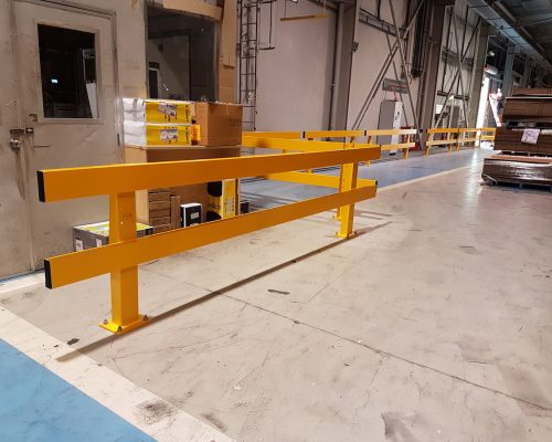 Verge safety barriers installed. large warehouse brisbane
