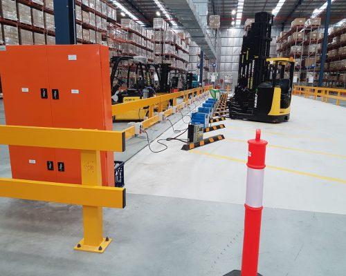 Verge safety barriers. Forklift charging station. MEDLINE