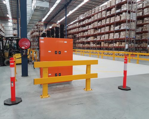 Verge safety barriers. Forklift charging station. MEDLINE