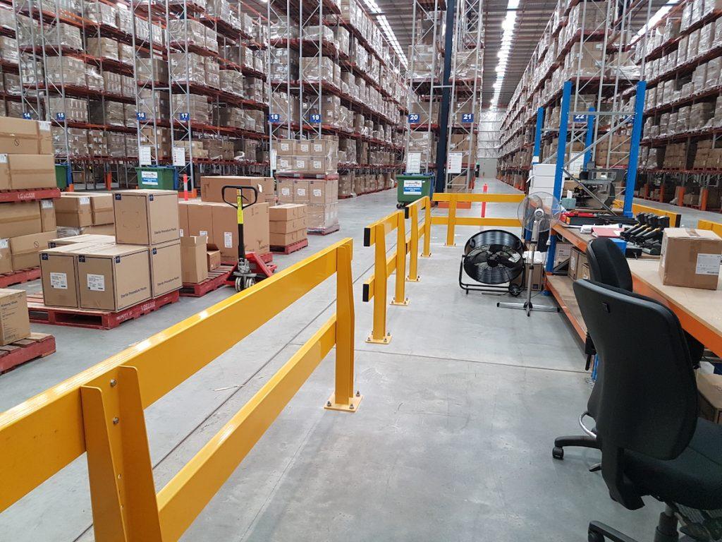 Verge safety barriers. warehouse dispatch-recieving desk. pedestrian safety. MEDLINE (2)