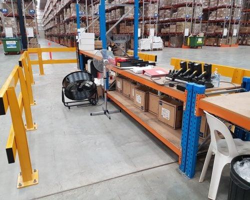 Verge safety barriers. warehouse dispatch-recieving desk. pedestrian safety. MEDLINE (3)