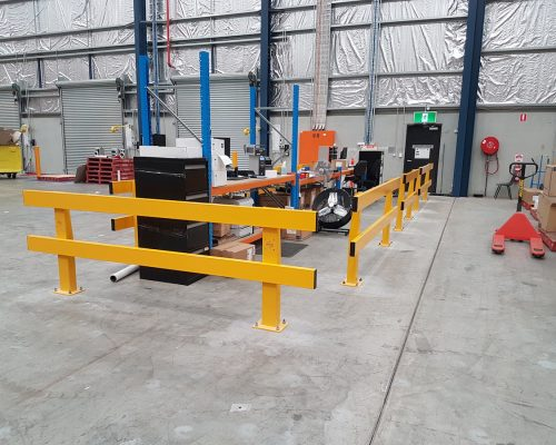 Verge safety barriers. warehouse dispatch-recieving desk. pedestrian safety. MEDLINE (4)