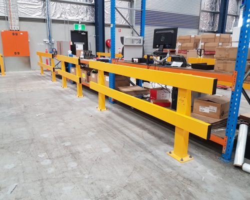 Verge safety barriers. warehouse dispatch-recieving desk. pedestrian safety. MEDLINE (5)