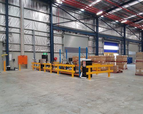 Verge safety barriers. warehouse dispatch-recieving desk. pedestrian safety. MEDLINE (6)