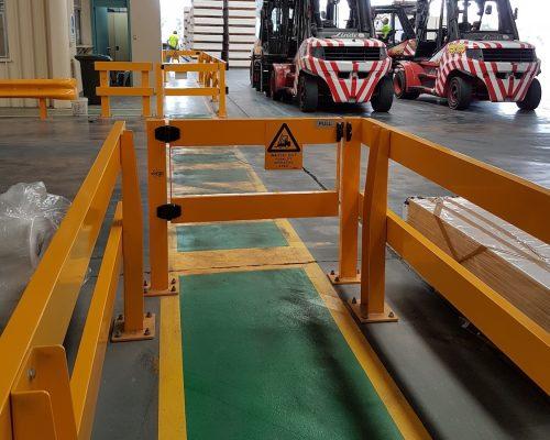 USG Boral Verge Safety Barrier. Verge swing gate. FORKLIFT SAFETY