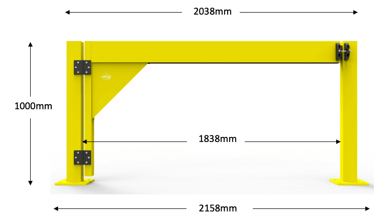 BV066 – Verge Swing Boom Gate 1800W LH Dimensions