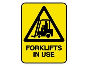 IV010 – VERGE HAZARD SIGN – FORKLIFT IN USE