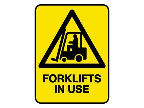 HV601 - VERGE HAZARD SIGN - FORKLIFT IN USE - hazard sign