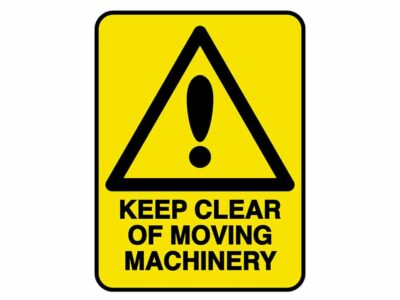 HV604 – VERGE HAZARD SIGN – KEEP CLEAR OF MOVING MACHINERY