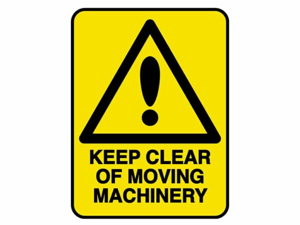 HV604 - VERGE HAZARD SIGN – KEEP CLEAR OF MOVING MACHINERY - hazard sign