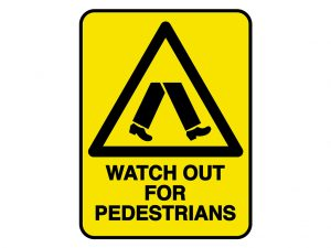IV011 – VERGE HAZARD SIGN – WATCH OUT FOR PEDESTRIANS