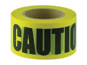 Verge CAUTION black on yellow tape