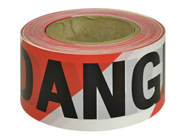 Verge DANGER Black on Red/White Tape - barriers