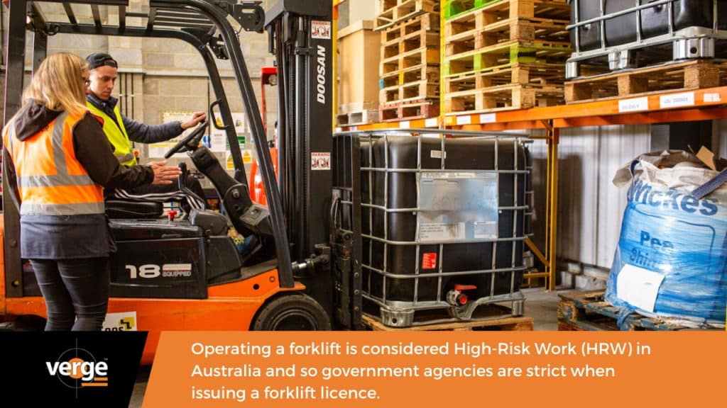 operating a forklift is high risk work