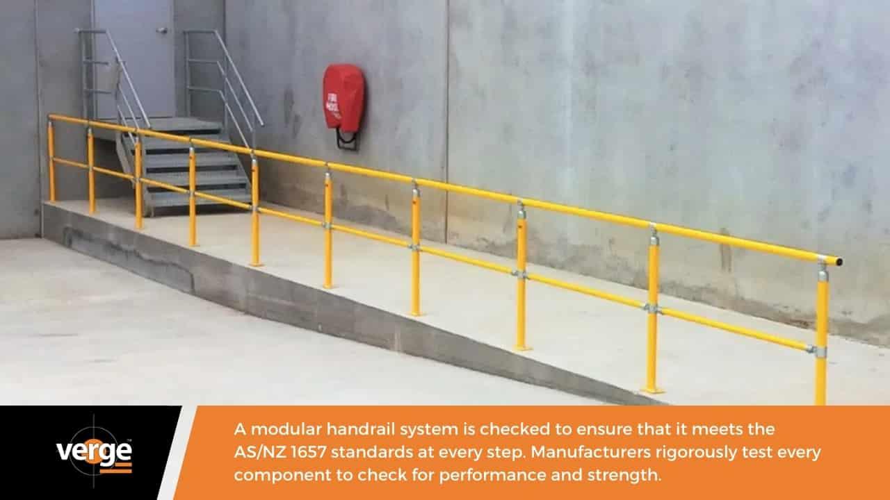 A modular handrail complies with Australian standards.