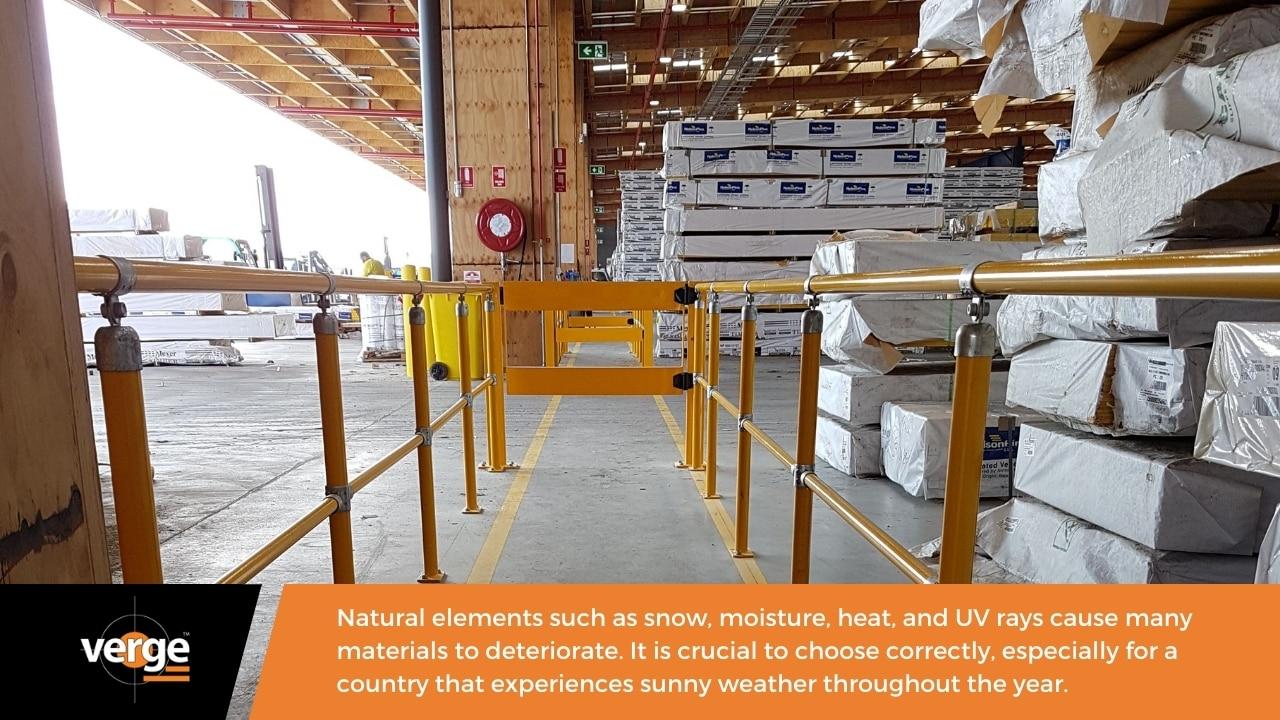 A modular handrail has a UV-resistant contrast colour.