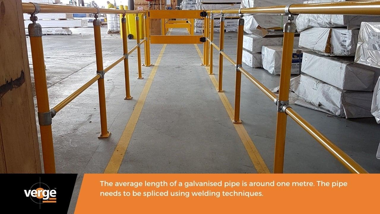 A modular handrail has a continuous length.