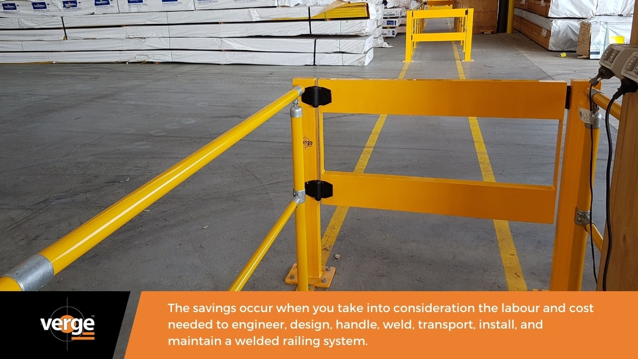 A modular handrail is a practical alternative to welded handrails.
