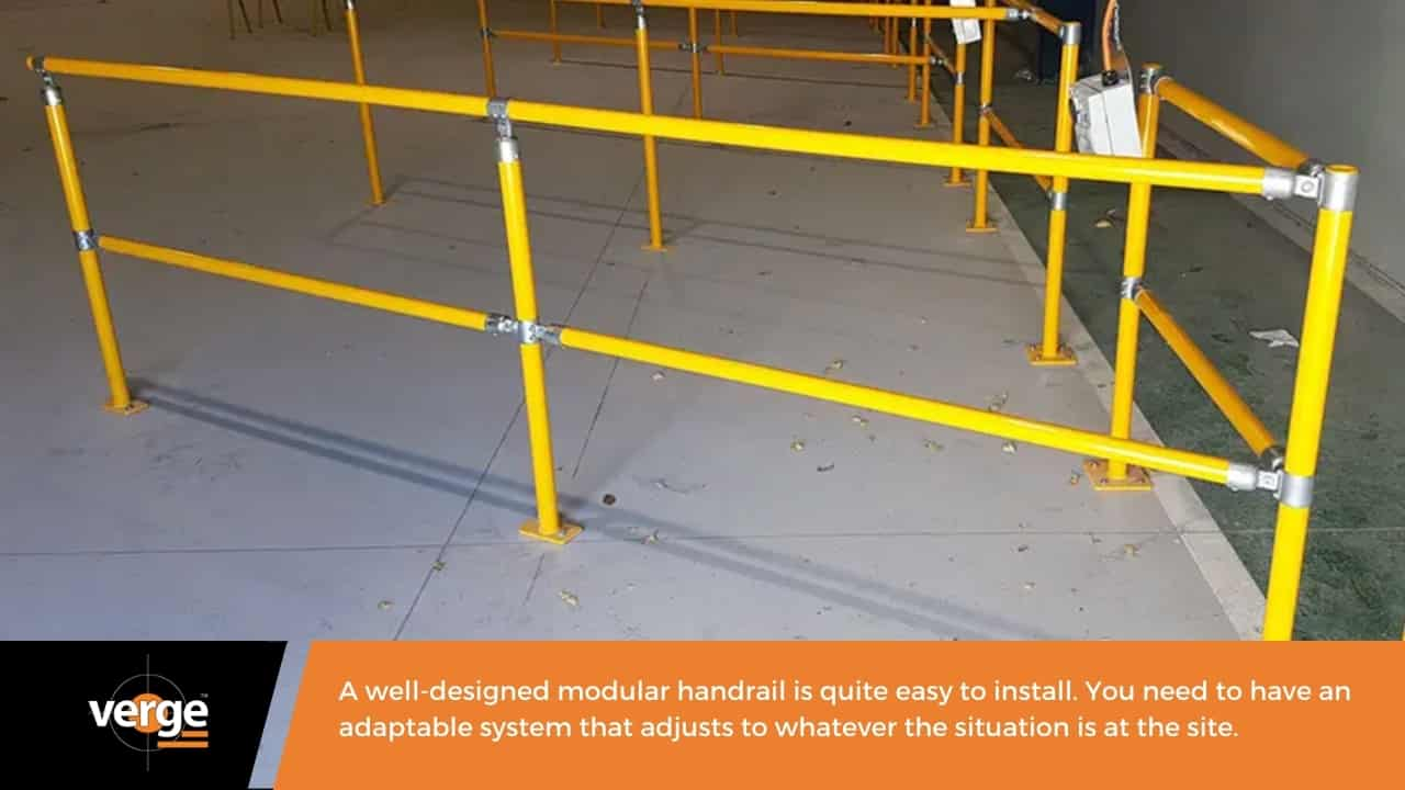 A modular handrail is easy to install and assemble