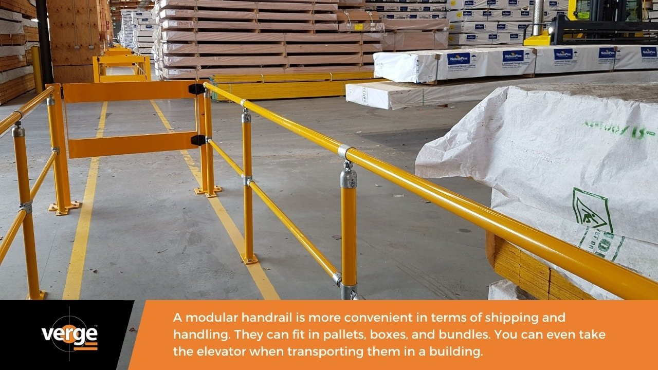 A modular handrail is lightweight and easy to transport.