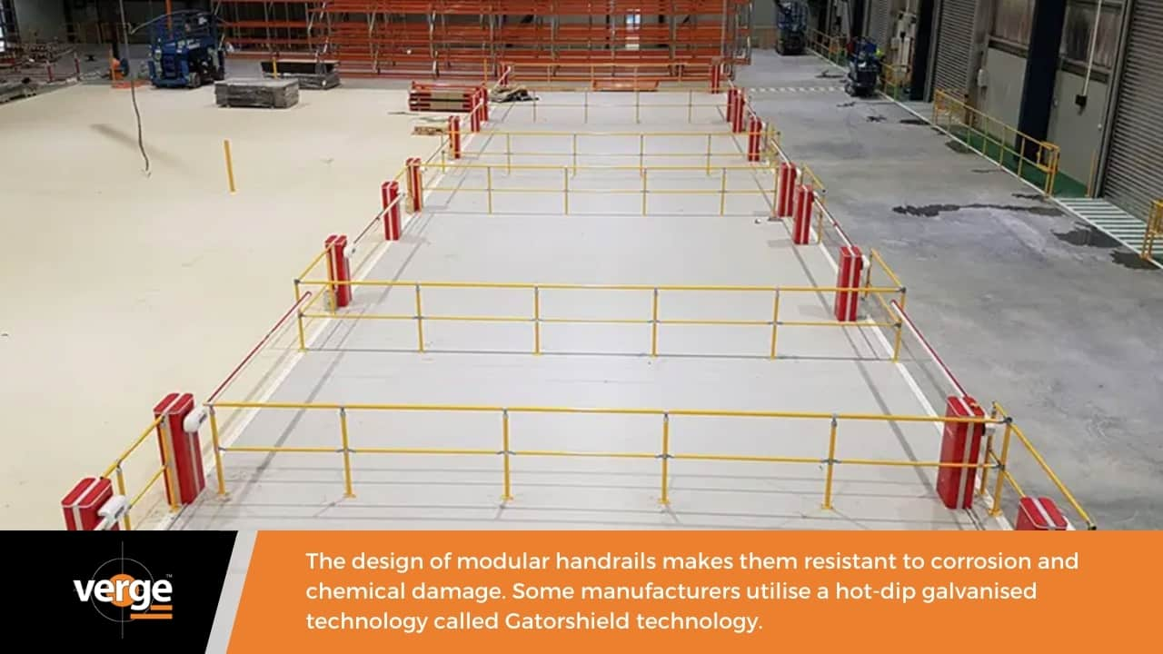 A modular handrail is resistant to corrosion and chemicals.