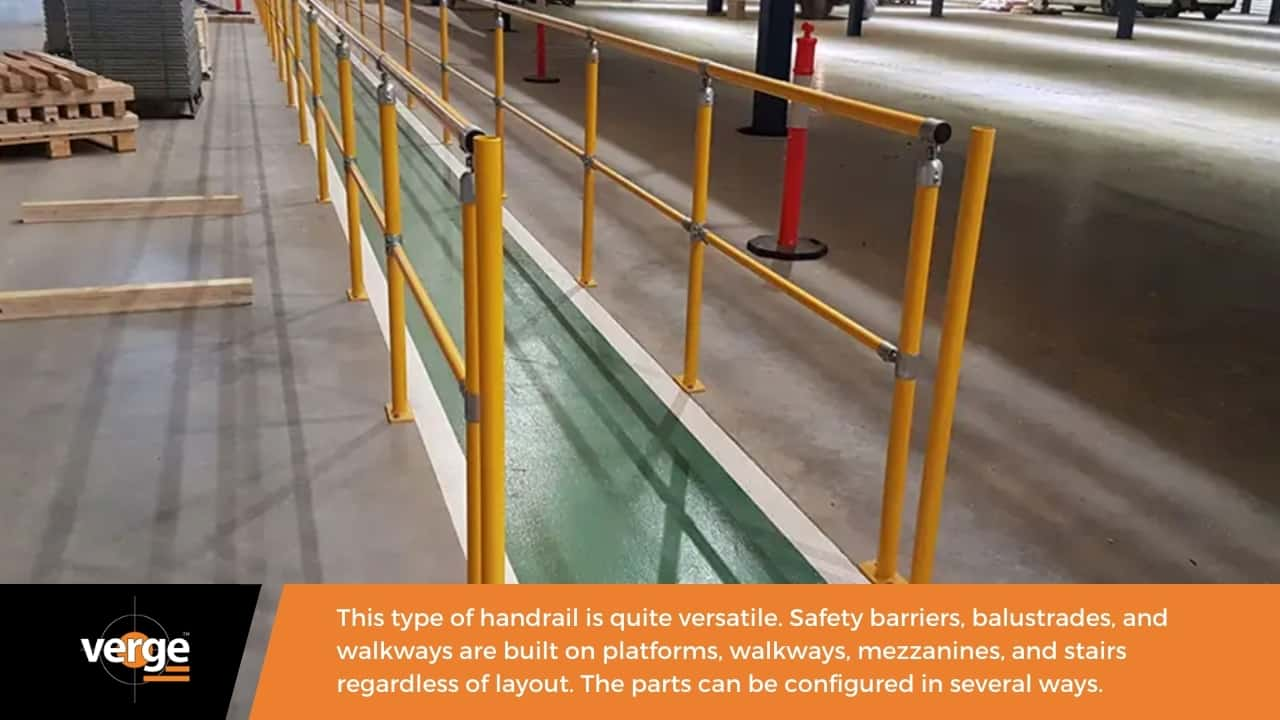 A modular handrail is suitable for a big range of applications.